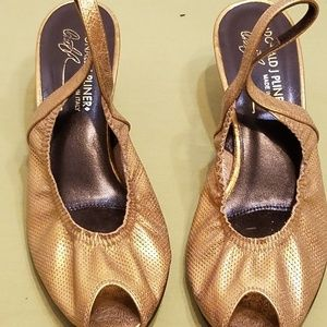 "Donald J. Pliner ""Dolly"" Gold Slingback Heels"